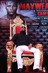 Feb 28; New York, NY, USA; Floyd Mayweather during the press conference announcing his fight against Miguel Cotto. The two will meet May 5, 2012 at the MGM Grand Garden Arena in Las Vegas, NV.