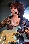Deirdre Cartwright with her 1961 Blue Fender Stratocaster.