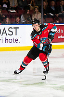 KELOWNA, BC - SEPTEMBER 28:  Sean Comrie #3 of the Kelowna Rockets skates with the puck against the Everett Silvertips  at Prospera Place on September 28, 2019 in Kelowna, Canada. (Photo by Marissa Baecker/Shoot the Breeze)