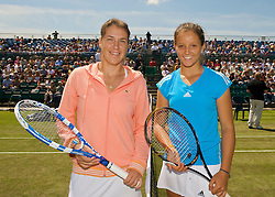 NOTTINGHAM, ENGLAND - Friday, June 12, 2009: Laura Robson (GBR) (R) and Olga Savchuk (URK) on day two of the Tradition Nottingham Masters tennis event at the Nottingham Tennis Centre. (Pic by David Rawcliffe/Propaganda)