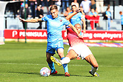 Gavin Reilly and Lois Maynard  during the EFL Sky Bet League 2 match between Salford City and Cheltenham Town at Moor Lane, Salford, United Kingdom on 14 September 2019.