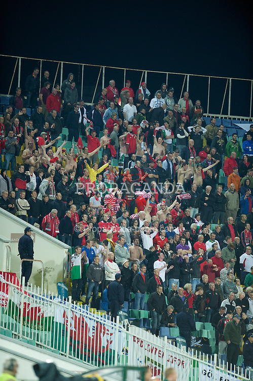 SOFIA, BULGARIA - Tuesday, October 11, 2011: Wales' supporters celebrate the only goal of the game against Bulgaria during the UEFA Euro 2012 Qualifying Group G match at the Vasil Levski National Stadium. (Pic by David Rawcliffe/Propaganda)