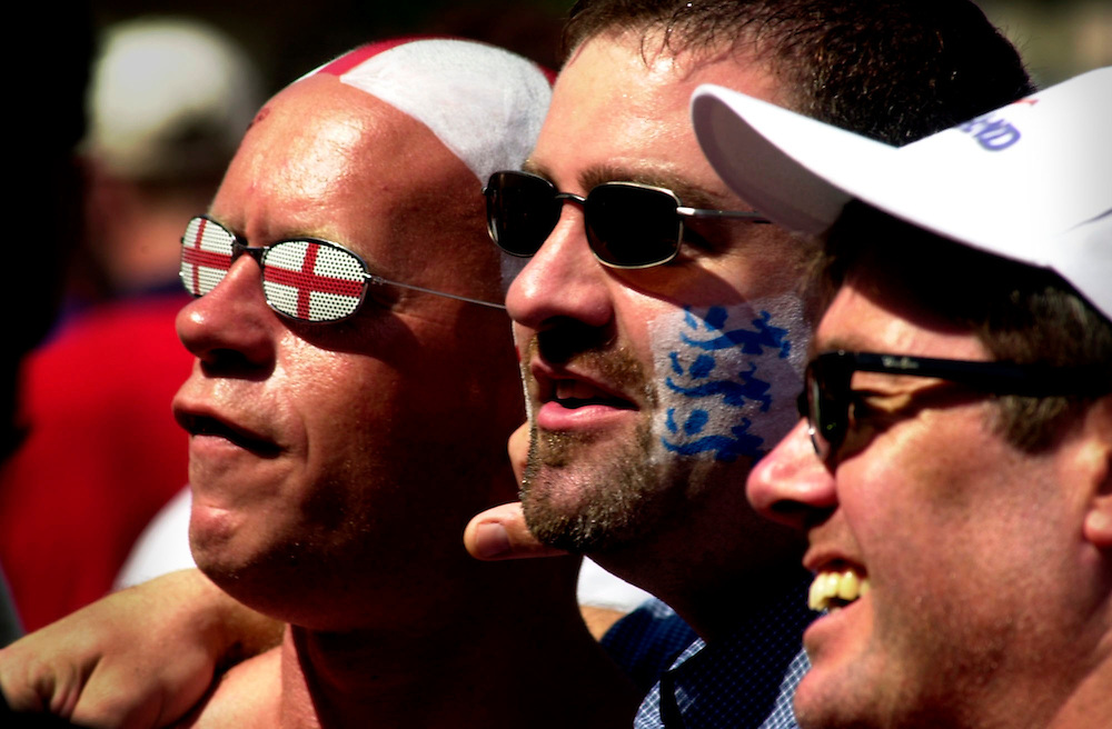 England football supporters are pictured in the Markt Square in Eindhoven