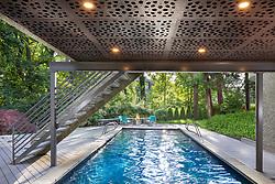 3122 Newark House Kitchen, Great Room, pool, Exterior patio , pool, exterior, Rear yard, twilight