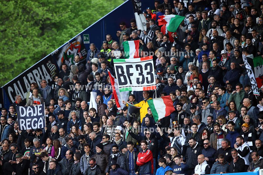 """Foto LaPresse/Filippo Rubin<br /> 13/04/2019 Ferrara (Italia)<br /> Sport Calcio<br /> Spal - Juventus - Campionato di calcio Serie A 2018/2019 - Stadio """"Paolo Mazza""""<br /> Nella foto: I TIFOSI DELLA JUVENTUS<br /> <br /> Photo LaPresse/Filippo Rubin<br /> April 13, 2019 Ferrara (Italy)<br /> Sport Soccer<br /> Spal vs Juventus - Italian Football Championship League A 2018/2019 - """"Paolo Mazza"""" Stadium <br /> In the pic: JUVENTUS SUPPORTERS"""