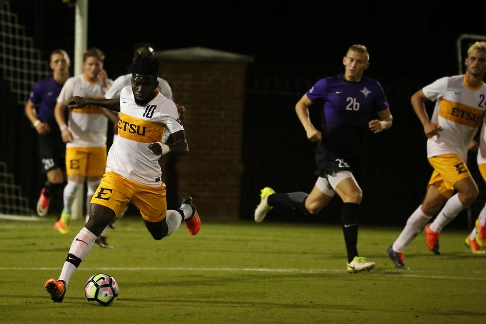 October 6, 2017 - Johnson City, Tennessee - Summers-Taylor Stadium: ETSU midfielder Serge Gomis (10)<br /> <br /> Image Credit: Dakota Hamilton/ETSU