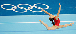 Spanish gymnast Laura Campos performs on the floor during a training session in the National Indoor Stadium ahead of the opening of the Olympic games in Beijing, China, 07 August 2008.