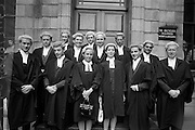 "26/07/1967<br /> 07/26/1967<br /> 26 July 1967<br /> Calls to the Bar at the Four Courts, Dublin. A group shot of those called to the Bar. Not all included in image: Cornelius Kehily, Scrahane, Enniskeane, Co. Cork; George Brady, ""Villa Rapallo"", Nutley Lane, Dublin; Marie Teresa Bourke, Victoria House, Ballina; Daniel Finbarr Sullivan, Keal Kill, Bantry; Caroline Elizabeth Kenny, B.C.L., Wyattville, Ballybrack, Co. Dublin; Denis A. O'Donovan, St. Anthonys, 90 Lower Churchtown Road; Patrick H. Hegarty, Kevinfort, Co. Sligo; Dermot Joseph McNulty, Phibsboro Road, Dublin; Daniel Nicholas Herbert, Cahir, Co. Tipperary; Paul Ronan Dempsey, Nenagh, Co. Tipperary; John Donnelly, St. Marys, Cowper Road, Dublin; Cornelius T. Buckley, Montrose, Thormanby Road, Howth; John Anthony Boland, Cullenswood Gardens, Ranelagh, Dublin and Vijay Kumar Arora. Matura City, India."