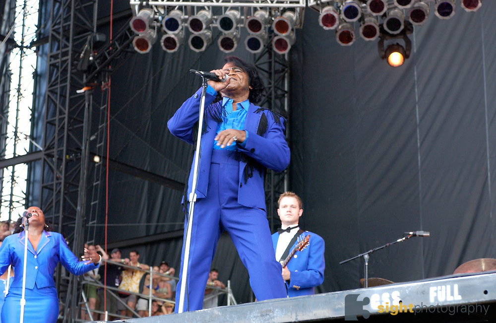 Manchester, TN.  2003 Bonnaroo Music Festival. James Brown performs at Bonnaroo 2004. Mandatory Credit: Bryan Rinnert/3Sight Photography..