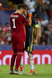 September 19, 2018 - Valencia, Spain - Wojciech Szczesny, Giorgio Chiellini celebrates victory after Group H match of the UEFA Champions League between Valencia CF and Juventus at Mestalla Stadium on September 19, 2018 in Valencia, Spain. (Credit Image: © Jose Breton/NurPhoto/ZUMA Press)