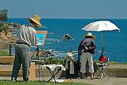 Artists Painting an Ocean Scene in Newport Beach