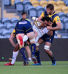 Christian Scotland Williamson of Worcester Cavaliers and Ted Hill of Worcester Cavaliers tackle Jordan Olowofela of Leicester Tigers  - Mandatory by-line: Alex James/JMP - 04/09/2017 - RUGBY - Sixways - Worcester, England - Worcester Cavaliers  v Leicester Tigers - A League