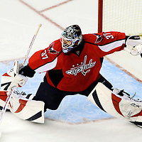 26 December 2007:  Washington Capitals goalie Olaf Kolzig (37) deflects a third period shot taken by the Tampa Bay Lightning at the Verizon Center in Washington, D.C.  The Capitals defeated the Lightning 3-2.