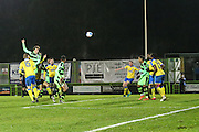 Forest Green Rovers Christian Doidge(9) heads the ball and hits the crossbar during the Vanarama National League match between Forest Green Rovers and Torquay United at the New Lawn, Forest Green, United Kingdom on 1 January 2017. Photo by Shane Healey.