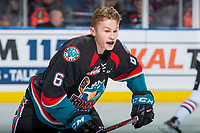 KELOWNA, CANADA - OCTOBER 20: Kaedan Korczak #6 of the Kelowna Rockets skates to the bench after losing his helmet after a check by Skyler McKenzie #43 of the Portland Winterhawks on October 20, 2017 at Prospera Place in Kelowna, British Columbia, Canada.  (Photo by Marissa Baecker/Shoot the Breeze)  *** Local Caption ***