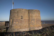 Quatrofoil Martello tower nineteenth century defensive fort from the napoloeonic period, Slaughden, near Aldeburgh, Suffolk