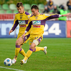 Elvedin Dzinic and Marko Popovic of Maribor at 13th Round of Prva Liga football match between NK Olimpija and Maribor, on October 17, 2009, in ZAK Stadium, Ljubljana. Maribor won 1:0. (Photo by Vid Ponikvar / Sportida)