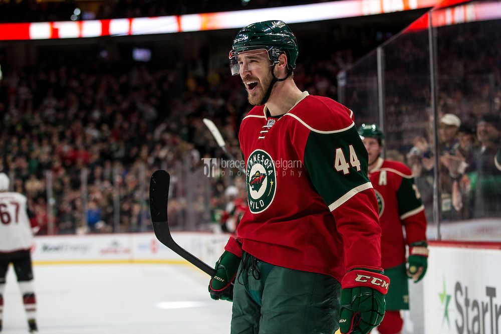 Dec 17, 2016; Saint Paul, MN, USA; Minnesota Wild forward Tyler Graovac (44) celebrates his goal against the Arizona Coyotes at Xcel Energy Center. The Wild defeated the Coyotes 4-1. Mandatory Credit: Brace Hemmelgarn-USA TODAY Sports
