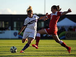 Oxford United's Amy Chivers competes with Bristol Academy's Caroline Weir - Mandatory by-line: Paul Knight/JMP - Mobile: 07966 386802 - 27/08/2015 -  FOOTBALL - Stoke Gifford Stadium - Bristol, England -  Bristol Academy Women v Oxford United Women - FA WSL Continental Tyres Cup