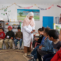 TUNISIA, TWANSIYA VILLAGE: Around Sidi Bouzid are many small villages. Almost all children attend school, also in rural areas. Co-education is the norm. Many Tunisians fear that with the rise of Islam co-education could be at stake.