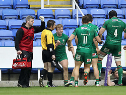 London Irish's Scott Steele celebrates scoring a try - Photo mandatory by-line: Robbie Stephenson/JMP - Mobile: 07966 386802 - 05/04/2015 - SPORT - Rugby - Reading - Madejski Stadium - London Irish v Edinburgh Rugby - European Rugby Challenge Cup