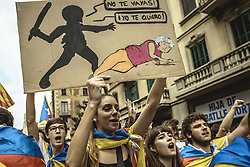 October 3, 2017 - Barcelona, Catalonia, Spain - Thousands of Catalan pro-independence activists shout slogans as they march through Barcelona during a general strike in defense of rights and freedoms after police violence during the secession referendum at October 1st. Spain's Central Government denies that there have been a referendum and does not accept the result as the Catalan referendum law had been suspended by Spain's constitutional courtCatalan pro-independence with their placards take part in a march during a general strike in defense of rights and freedoms after police violence during the secession referendum at October 1st. Spain's Central Government denies that there have been a referendum and does not accept the result as the Catalan referendum law had been suspended by Spain's constitutional court (Credit Image: © Matthias Oesterle via ZUMA Wire)