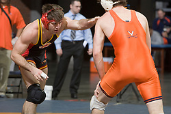 Dustin McCabe of VMI wrestles Mike Grogan of UVA in the 174lb weight division.  The 2008 Virginia Intercollegiate Wresting Championships were hosted by the University of Virginia at the John Paul Jones Arena in Charlottesville, VA on January 5, 2008.