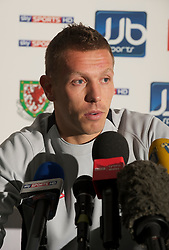 CARDIFF, WALES - Tuesday, August 10, 2010: Wales' captain Craig Bellamy during a press conference at the Vale of Glamorgan ahead of the international friendly match against Luxembourg. (Pic by David Rawcliffe/Propaganda)