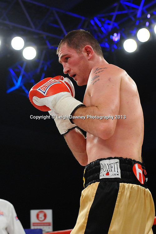 Lenny Daws defeats Tony Pace in a 6x3 Light Welterweight contest. Glow, Bluewater, Kent, UK. Hennessy Sports © Leigh Dawney Photography 2013.