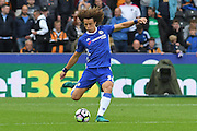 Chelsea defender David Luiz (30) kicks forward  during the Premier League match between Hull City and Chelsea at the KCOM Stadium, Kingston upon Hull, England on 1 October 2016. Photo by Ian Lyall.