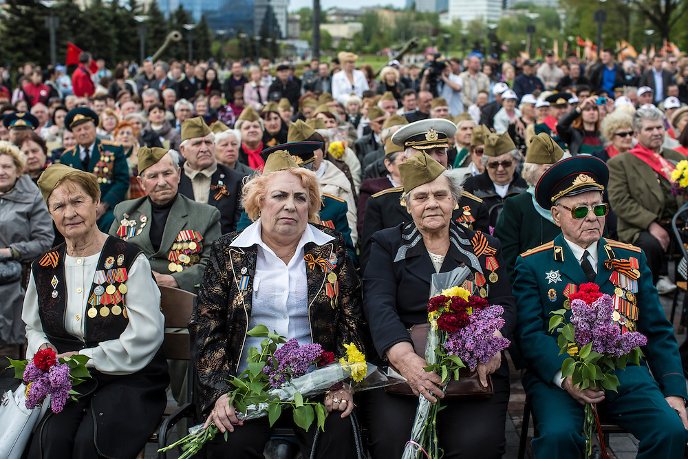 DONETSK, UKRAINE - MAY 9: Veterans attend a ceremony to commemorate victims of World War II on the Victory Day holiday on May 9, 2014 in Donetsk, Ukraine. Tensions in Eastern Ukraine are high after pro-Russian activists seized control of at least ten cities and ahead of the Victory Day holiday and a planned referendum on greater autonomy for the region. (Photo by Brendan Hoffman/Getty Images) *** Local Caption ***