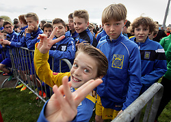 07 April 2018. Blaringhem, Pas de Calais, France.<br /> Phase District Festival U13 Pitch - Festival Foot U13. A tournament of 8 teams.<br /> US Montreuil Sur Mer U13a at the presentation ceremony.<br /> Photo©; Charlie Varley/varleypix.com