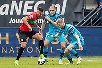 NIJMEGEN- 07-05-2017, NEC - AZ,  Stadion De Goffert, NEC Nijmegen speler Jay-Roy Grot, AZ speler Ron Vlaar, AZ speler Rens van Eijden