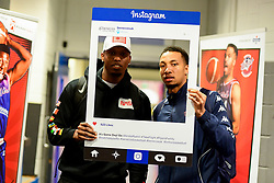 Fred Thomas of Bristol Flyers and Gentry Thomas of Bristol Flyers with a Benecos Instagram Frame  - Photo mandatory by-line: Ryan Hiscott/JMP - 14/12/2019 - BASKETBALL - SGS Wise Arena - Bristol, England - Bristol Flyers v Worcester Wolves - British Basketball League Championship
