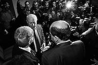 """ROME, ITALY - 24 JANUARY 2013: (R-L) Members of the center-left coalition Pierluigi Bersani (PD - Democratic Party, leader running for Prime Minister), Bruno Tabacci (Democratic Center) and Nichi Vendola (Left Ecology Freedom) give a press conference in Rome at the Ripetta Residence in Rome, on January 24, 2013. Pierluigi Bersani, running for Prime Minister in the 2013 elections in Italy, said he wouldn't dump his ally Nichi Vendola for former PM Mario Monti.  A general election to determine the 630 members of the Chamber of Deputies and the 315 elective members of the Senate, the two houses of the Italian parliament, will take place on 24–25 February 2013. The main candidates running for Prime Minister are Pierluigi Bersani (leader of the centre-left coalition """"Italy. Common Good""""), former PM Mario Monti (leader of the centrist coalition """"With Monti for Italy"""") and former PM Silvio Berlusconi (leader of the centre-right coalition). ### ROMA, ITALIA - 24 GENNAIO 2013: (da destra a sinistra) i membri della coalition di centro-sinistra Pierluigi Bersani (PD - Partito Democratico, leader candidate alla Presidenza del Consiglio), Bruno Tabacci (Centro Democratico) e Nichi Vendola (Sinistra Ecologia Libertà) presentano la coalizione di centro-sinistra in una conferenza stampa al Residence Ripetta a Roma, il 24 gennaio 2013. Le elezioni politiche italiane del 2013 per il rinnovo dei due rami del Parlamento italiano – la Camera dei deputati e il Senato della Repubblica – si terranno domenica 24 e lunedì 25 febbraio 2013 a seguito dello scioglimento anticipato delle Camere avvenuto il 22 dicembre 2012, quattro mesi prima della conclusione naturale della XVI Legislatura. I principali candidate per la Presidenza del Consiglio soon Pierluigi Bersani (leader della coalizione di centro-sinistra """"Italia. Bene Comune""""), il premier uscente Mario Monti (leader della coalizione di centro """"Con Monti per l'Italia"""") e l'ex-premier Silvio Berlusconi (leader della coalizione di ce"""