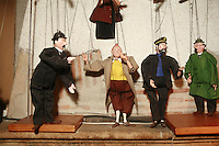 Lyon, France..marionettes of Tintin characters in the puppet museum  of.the shop Disagn'Cardelli, a puppet and marionnette museum and boutique, including many  Gignols