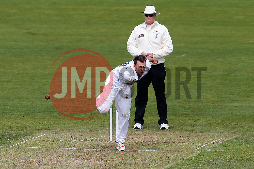 Alex Hughes of Derbyshire bowls - Photo mandatory by-line: Rogan Thomson/JMP - 07966 386802 - 26/04/2015 - SPORT - CRICKET - Bristol, England - Bristol County Ground - Gloucestershire v Derbyshire — Day 1 - LV= County Championship Division Two.