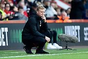 AFC Bournemouth manager Eddie Howe looks concerned during the Premier League match between Bournemouth and Norwich City at the Vitality Stadium, Bournemouth, England on 19 October 2019.