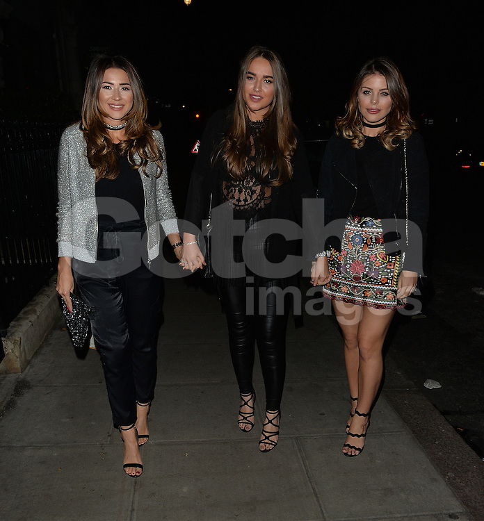 TOWIE star Chloe Lewis and friends at Roka restaurant in London, UK. 17/04/2016<br />BYLINE MUST READ : GOTCHAIMAGES.COM<br /><br />Copyright by &copy; Gotcha Images Ltd. All rights reserved.<br />Usage of this image is conditional upon the acceptance <br />of Gotcha Images Ltd, terms and conditions available at<br />www.gotchaimages.com