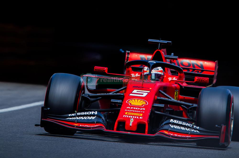May 25, 2019 - Montecarlo, Monaco - Sebastian Vettel of Germany and Scuderia Ferrari driver goes during the qualification session at Formula 1 Grand Prix de Monaco on May 25, 2019 in Monte Carlo, Monaco. (Credit Image: © Robert Szaniszlo/NurPhoto via ZUMA Press)