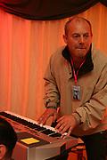 Keith Allen backstage at Glastonbury, 2005
