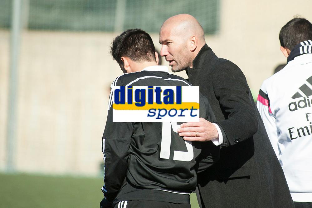 Real Madrid Castilla´s coach Zinedine Zidane and Javier Munoz during 2014-15 Spanish Second Division B match between Trival Valderas and Real Madrid Castilla at La Canaleja stadium in Alcorcon, Madrid, Spain. February 01, 2015. (ALTERPHOTOS/Luis Fernandez)