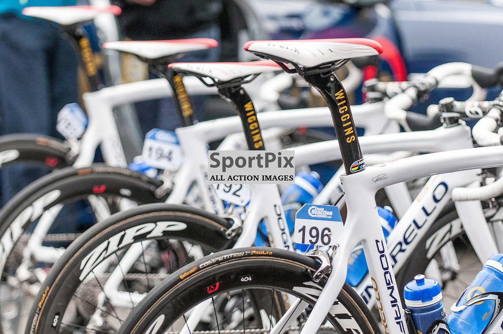 A rack of bicycles await their riders outside the Team Wiggins bus. Action from Stage 4 of the Aviva Tour of Britain, 9 September 2015. (c) Paul J Roberts / Sportpix.org.uk