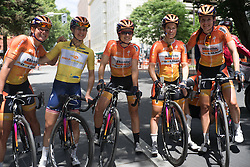 Megan Guarnier (USA) of Boels-Dolmans Cycling Team celebrates winning the overall title after the fourth, 70 km road race stage of the Amgen Tour of California - a stage race in California, United States on May 22, 2016 in Sacramento, CA.