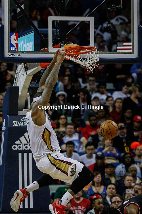 Mar 14, 2017; New Orleans, LA, USA; New Orleans Pelicans forward DeMarcus Cousins (0) dunks against the Portland Trail Blazers during the second half of a game at the Smoothie King Center. The Pelicans defeated the Trail Blazers 100-77. Mandatory Credit: Derick E. Hingle-USA TODAY Sports