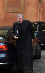 File photo - Cardinal George Pell (Australia) arrives at a special consistory in the Synod hall at the Vatican on Feb. 13, 2015. Cardinal George Pell has been found guilty of sexual offences in Australia, making him the highest-ranking Catholic figure to receive such a conviction. Pell abused two choir boys in the rooms of a Melbourne cathedral in 1996, a jury found. He had pleaded not guilty. The verdict was handed down in December, but it could not be reported until now due to legal reasons. Pell is due to face sentencing hearings from Wednesday. He has lodged an appeal against his conviction.. Photo by Eric Vandeville/ABACAPRESS.COM