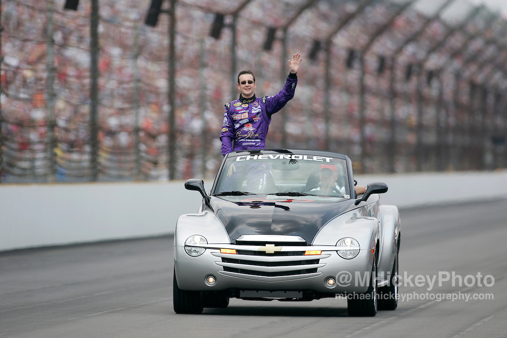 Kurt Busch rides around the track before the Allstate 400 at the Brickyard Aug 7, 2005 in Indianapolis, IN.