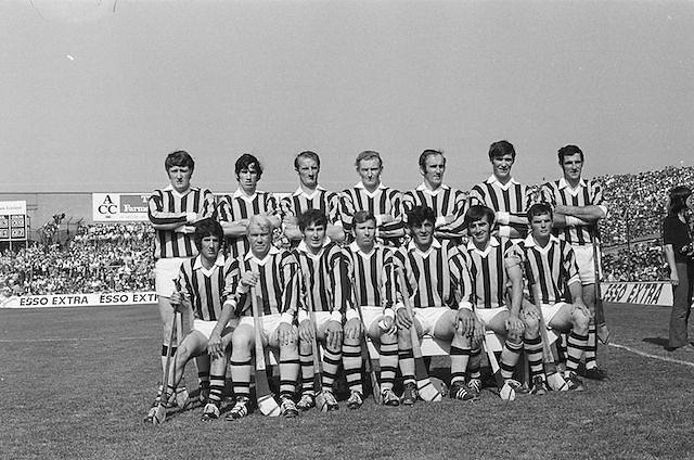 Kilkenny Team before the All Ireland Senior Hurling Final, Cork v Kilkenny in Croke Park on the 3rd September 1972. Kilkenny 3-24, Cork 5-11. Back row from left, Ned Byrne, Mick Crotty, Pa Dillon, Pat Henderson, Eddie Keher, Frank Cummins, Kieran Purcell, .Front row from left, Pat Lalor, Jim Treacy, Liam O'Brien, Noel Skeehan captain, Pat Delaney, John Kinsella, Eamonn Morrissey, Missing from photo Fan Larkin.