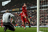 Photo: Paul Thomas.<br /> Liverpool v Sheffield United. The Barclays Premiership. 24/02/2007.<br /> <br /> Robbie Fowler of Liverpool celebrates his first penalty of the after noon, while Utd keeper Paddy Kenny (L) watches on.
