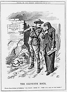 Boer War: Baden Powell encouraging Mafeking to hold out. Lord Roberts promised to relieve them by 18 May. John Tenniel cartoon from 'Punch' 9 May 1900.